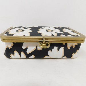 New Fossil Black Coated Cosmetic Case Floral
